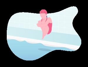 Illustration d'une petite fille sautant dans un bassin